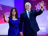 United States Vice President Mike Pence and Karen Pence arrive for the Vice President to speak at the Conservative Political Action Conference (CPAC) at the Gaylord National Resort and Convention Center in National Harbor, Maryland on Friday, March 1, 2019.<br /> Credit: Ron Sachs / CNP