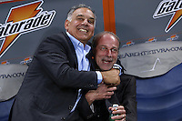 ROMA, Italy: October 18, 2013: As Roma beats SSC Napoli 2-0 during the Serie A match played in the Olimpico Stadium. In the photo the AS Rome Chairman James Pallotta with the team manager Walter Sabatini