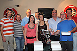 Michelle and Sarah Thompson The Thompson cup to Mark Heavy, Neil Barry, Thomas Hynes, Paul McAuley, Damien Geraghty, Niall Courtney and Rocky Andrews of Kellys darts team from Duleek after they won the D&D darts league. Photo: Colin Bell/pressphotos.ie