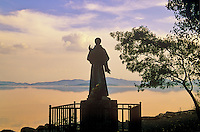 Statue of Saint Francis of Assisi on shore of Lago Trasimeno  on island of Isola Maggiore, Umbria, Italy, AGPix_0512...