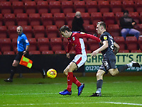 Crewe Alexandra's Harry Pickering shields the ball from  Lincoln City's Harry Anderson<br /> <br /> Photographer Andrew Vaughan/CameraSport<br /> <br /> The EFL Sky Bet League Two - Crewe Alexandra v Lincoln City - Wednesday 26th December 2018 - Alexandra Stadium - Crewe<br /> <br /> World Copyright &copy; 2018 CameraSport. All rights reserved. 43 Linden Ave. Countesthorpe. Leicester. England. LE8 5PG - Tel: +44 (0) 116 277 4147 - admin@camerasport.com - www.camerasport.com