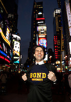 Australian comedian James Smith, now based in New York, pictured in Times Square. photo by Trevor Collens. Photo by Trevor Collens