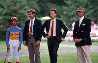 Jose Santos, Jeff Lukas, Todd Pletcher, Wayne Lukas, photographed at Saratoga Race Course during the 1989 meeting
