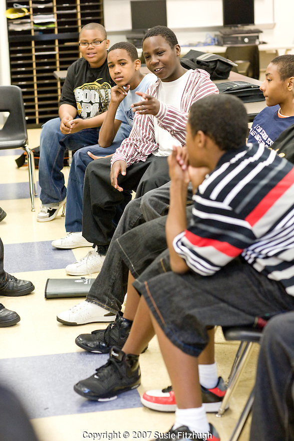 Seattle Public Schools: Madrona K-8 middleschool boys talk about issues of importance to them during a special class time allowing for such openess.