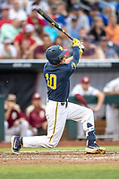 Michigan Wolverines third baseman Blake Nelson (10) swings the bat during Game 6 of the NCAA College World Series against the Florida State Seminoles on June 17, 2019 at TD Ameritrade Park in Omaha, Nebraska. Michigan defeated Florida State 2-0. (Andrew Woolley/Four Seam Images)