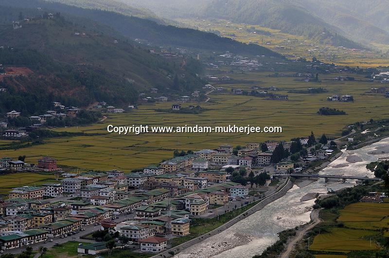 A view of Paro city by the side of Paro chu(river). Arindam Mukherjee..