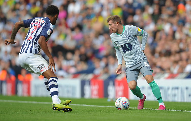 Blackburn Rovers' Joe Rothwell under pressure from West Bromwich Albion's Darnell Furlong<br /> <br /> Photographer Kevin Barnes/CameraSport<br /> <br /> The EFL Sky Bet Championship - West Bromwich Albion v Blackburn Rovers - Saturday 31st August 2019 - The Hawthorns - West Bromwich<br /> <br /> World Copyright © 2019 CameraSport. All rights reserved. 43 Linden Ave. Countesthorpe. Leicester. England. LE8 5PG - Tel: +44 (0) 116 277 4147 - admin@camerasport.com - www.camerasport.com