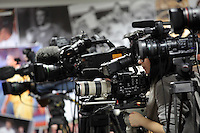 SWANSEA, WALES - NOVEMBER 17: Television cameras during the Swansea City Press Conference at The Liberty Stadium on November 17, 2016 in Swansea, Wales. (Photo by Athena Pictures/Getty Images)
