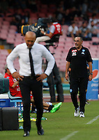 Calcio, Serie A: Napoli vs Roma. Napoli, stadio San Paolo, 15 ottobre. <br /> Roma&rsquo;s coach Luciano Spalletti, left, and Napoli&rsquo;s coach Maurizio Sarri during the Italian Serie A football match between Napoli and Roma at Naples' San Paolo stadium, 15 October 2016. Roma won 3-1.<br /> UPDATE IMAGES PRESS/Isabella Bonotto