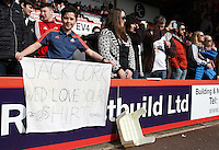 A Swansea fan poses with a message for Jack Cork before the Barclays Premier League match between AFC Bournemouth and Swansea City played at The Vitality Stadium, Bournemouth on March 11th 2016