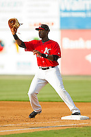 Kannapolis Intimidators first baseman Keon Barnum (35) waits for a throw during the South Atlantic League game against the Hickory Crawdads at CMC-Northeast Stadium on July 28, 2013 in Kannapolis, North Carolina.  The Crawdads defeated the Intimidators 6-1.  (Brian Westerholt/Four Seam Images)