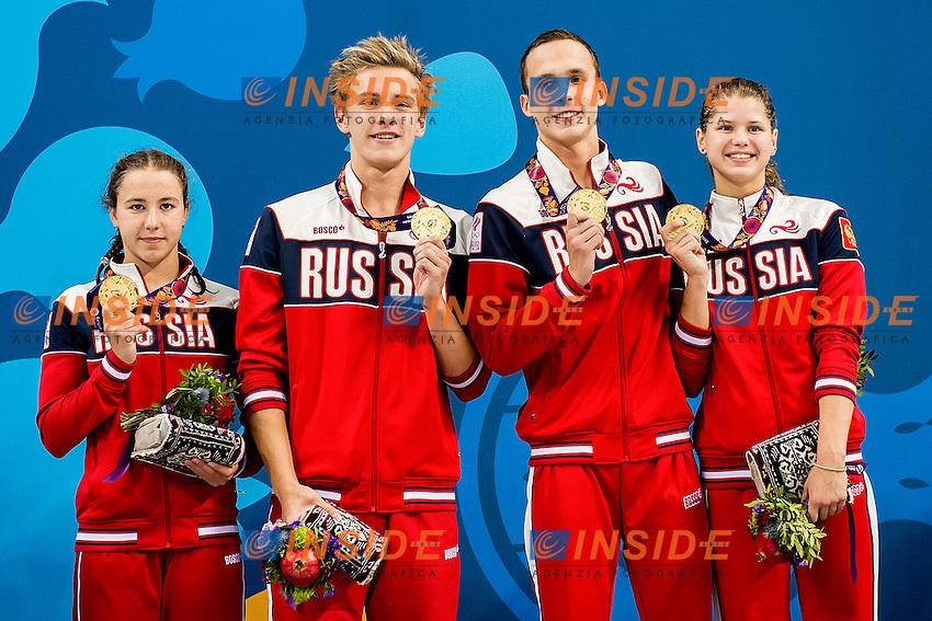 KAMENEVA Mariia (W) CHUPKOV Anton (M) PAKHOMOV Daniil (M) OPENYSHEVA Arina (W) RUS<br /> 4X100 Relay Mixed Medley Swimming Gold Medal<br /> 1st European Olympic Games <br /> Baku Azerbaijan 12-28/06/2015<br /> Photo Andrea Masini/Deepbluemedia/Insidefoto