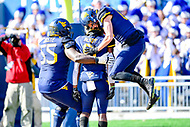 Morgantown, WV - NOV 10, 2018: West Virginia Mountaineers running back Kennedy McKoy (6) celebrates his touchdown with teammates late in the 2nd quarter of game between West Virginia and TCU at Mountaineer Field at Milan Puskar Stadium Morgantown, West Virginia. (Photo by Phil Peters/Media Images International)