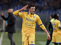 Calcio, Serie A: Roma vs Frosinone. Roma, stadio Olimpico, 30 gennaio 2016.<br /> Frosinone&rsquo;s Daniel Ciofani celebrates after scoring during the Italian Serie A football match between Roma and Frosinone at Rome's Olympic stadium, 30 January 2016.<br /> UPDATE IMAGES PRESS/Isabella Bonotto