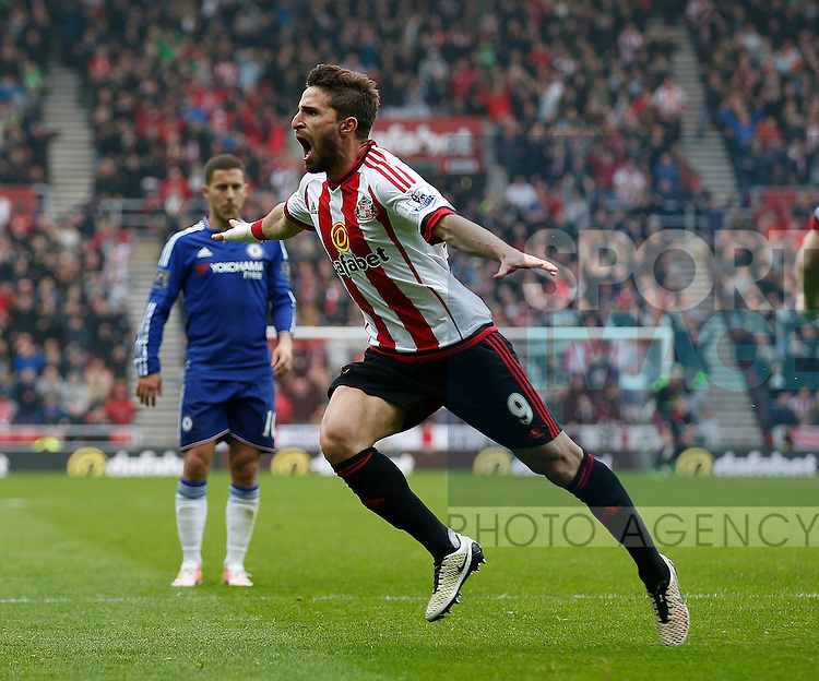 Fabio Borini of Sunderland celebrates scoring the equalising second goal during the Barclays Premier League match at the Stadium of Light, Sunderland. Photo credit should read: Simon Bellis/Sportimage via PA Images