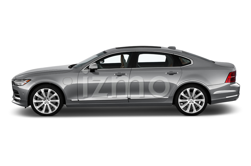 Car driver side profile view of a 2019 Volvo S90 Inscription PHEV T8 AWD 4 Door Sedan