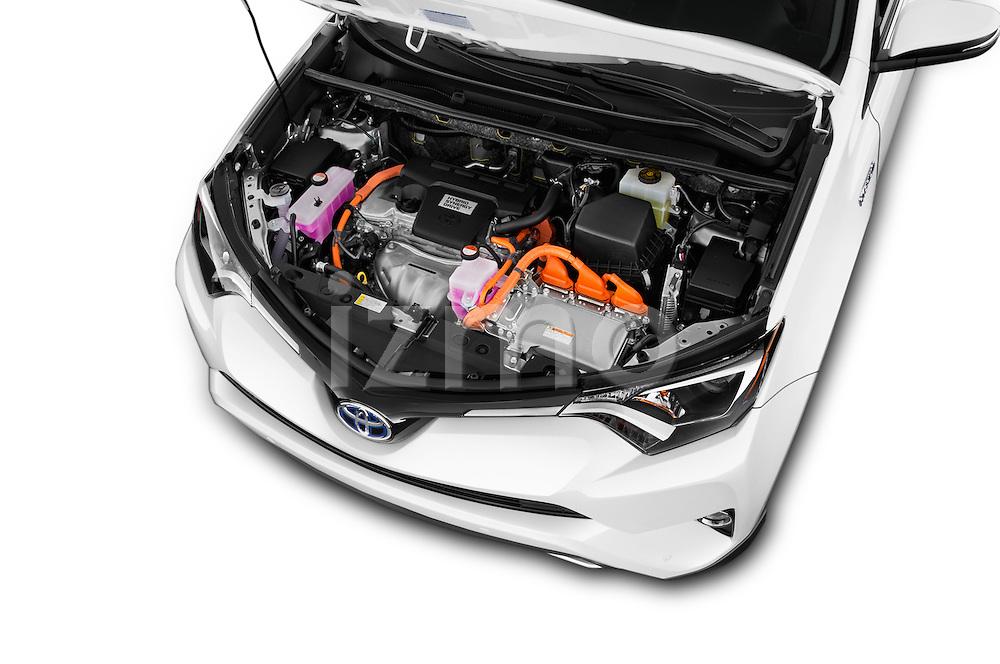 Car Stock 2018 Toyota RAV4 Hybrid-Limited-4x4 5 Door SUV Engine  high angle detail view