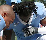 02 September 2006: UNC's Jesse Holley (9) and Barrington Edwards (l) share a prayer before the game. The University of North Carolina Tarheels lost 21-16 to the Rutgers Scarlett Knights at Kenan Stadium in Chapel Hill, North Carolina in an NCAA Division I College Football game.