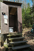 Privy at the old Eliza Brook Shelter along the Appalachian Trail (Kinsman Ridge Trail), between Mount Wolf and South Kinsman, in the New Hampshire White Mountains.This was an Adirondack style shelter that slept 8. It was replaced with a new shelter in 2010.