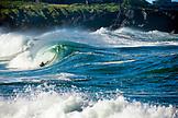 USA, Hawaii, boogie border riding a wave at Waimea Bay, the North Shore