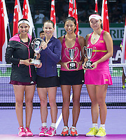 CARA BLACK (ZIM), SANIA MIRZA (IND), HSIEH SU-WEI (TPE),  PENG SHUAI (CHN)<br /> <br /> The BNP Paribas WTA Finals 2014 - The Sports Hub - Singapore - WTA  2014  <br /> <br /> 26 October 2014<br /> <br /> &copy; AMN IMAGES