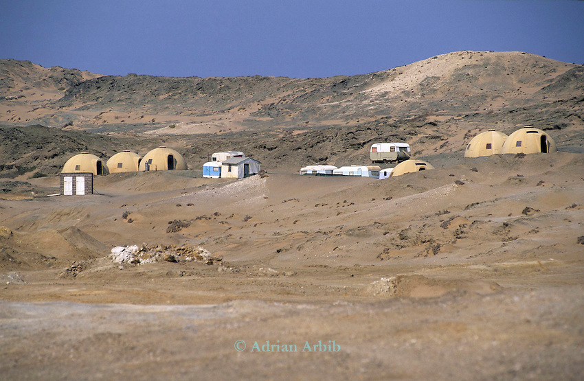 Active diamond mine workings, near Elizabeth's Bay  in the diamond region of the Namib Desert.  Namibia. Southern restricted Diamond region.