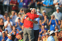 Rory McIlroy (NIR) hugs his dad Gerry after winning the tournament with a score of -13 and 8 shots clear of the field at the end of Sunday's Final Round of the 94th PGA Golf Championship at The Ocean Course, Kiawah Island, South Carolina, USA 11th August 2012 (Photo Eoin Clarke/www.golffile.ie)