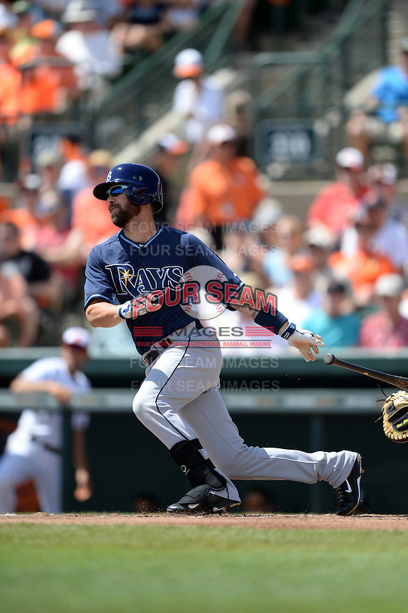 Tampa Bay Rays infielder Nick Franklin (2) during a Spring Training game against the Baltimore Orioles on March 14, 2015 at Ed Smith Stadium in Sarasota, Florida.  Tampa Bay defeated Baltimore 3-2.  (Mike Janes/Four Seam Images)