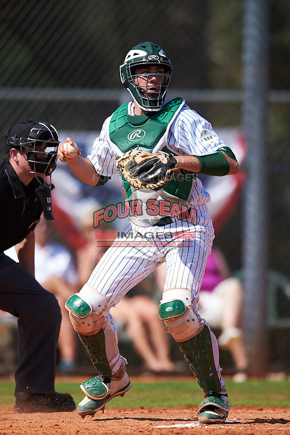 Eastern Michigan Eagles catcher Robert Iacobelli (49) checks the runner during a game against the Dartmouth Big Green on February 25, 2017 at North Charlotte Regional Park in Port Charlotte, Florida.  Dartmouth defeated Eastern Michigan 8-4.  (Mike Janes/Four Seam Images)