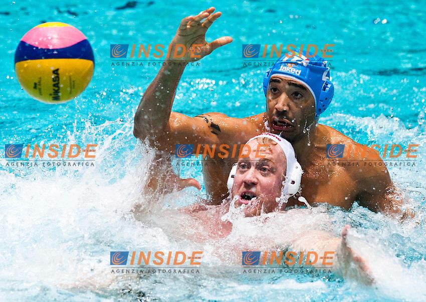Eindhoven , Netherlands (NED) 16/1/2012.LEN European  Water Polo Championships 2012.Day 01 - Men.Hungary (White) - Italia (Blue)..ITA.2.PEREZ Amaurys...Photo Insidefoto / Giorgio Scala / Deepbluemedia