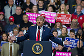 United States President Donald J. Trump speaks during a Make America Great Again campaign rally at Atlantic Aviation in Moon Township, Pennsylvania on March 10th, 2018. Credit: Alex Edelman / CNP