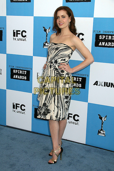 AMY ADAMS.2007 Film Independent's Spirit Awards at the Santa Monica Pier, Santa Monica, California, USA,.24 February 2007..full length strapless black and white dress red lipstick hand on hip.CAP/ADM/BP.©Byron Purvis/AdMedia/Capital Pictures.