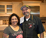 Chef George Gomez and wife Priscilla during the Reno Bites Chef Showdown at Czyz's Appliance's gourmet kitchens in Reno, October 14, 2017.