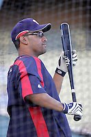 D'Angelo Jimenez of the Washington Nationals during batting practice before a game from the 2007 season at Dodger Stadium in Los Angeles, California. (Larry Goren/Four Seam Images)