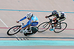 September 17, 2015 - Colorado Springs, Colorado, U.S. - Fort Lewis College's, Dominique Shore (l), and Lindenwood University's, Josie Talbot (r), are at full speed as they round the final corner in match sprint qualifying  during the USA Cycling Collegiate Track National Championships, United States Olympic Training Center Velodrome, Colorado Springs, Colorado.
