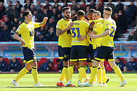 Blackburn Rovers' Joe Rothwell celebrates scoring his side's first goal  <br /> <br /> Photographer David Shipman/CameraSport<br /> <br /> The EFL Sky Bet Championship - Nottingham Forest v Blackburn Rovers - Saturday 13th April 2019 - The City Ground - Nottingham<br /> <br /> World Copyright © 2019 CameraSport. All rights reserved. 43 Linden Ave. Countesthorpe. Leicester. England. LE8 5PG - Tel: +44 (0) 116 277 4147 - admin@camerasport.com - www.camerasport.com