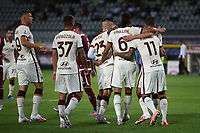 Chris Smalling of AS Roma celebrates with team mates after scoring the goal of 1-2 during the Serie A football match between Torino FC and AS Roma  at Olimpico stadium in Roma (Italy), July 29th, 2020. Play resumes behind closed doors following the outbreak of the coronavirus disease. Photo Gino Mancini / Insidefoto