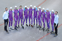 SCHAATSEN: HEERENVEEN: 18-06-2014, IJsstadion Thialf, Zomerijs training, Team Groepsfoto iSkate, ©foto Martin de Jong