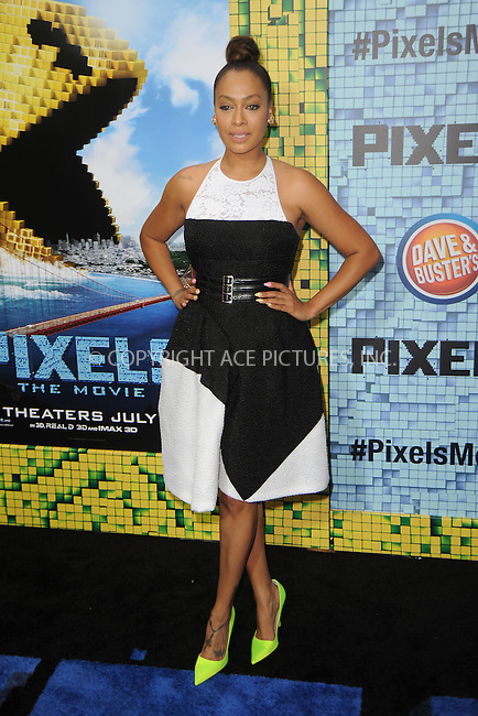 WWW.ACEPIXS.COM<br /> July 18, 2015 New York City<br /> <br /> La La Anthony attending the 'Pixels' Premiere at Regal E-Walk on July 18, 2015 in New York City.<br /> <br /> Please byline: Kristin Callahan/ACE <br /> <br /> <br /> Tel: (646) 769 0430<br /> e-mail: info@acepixs.com<br /> web: http://www.acepixs.com