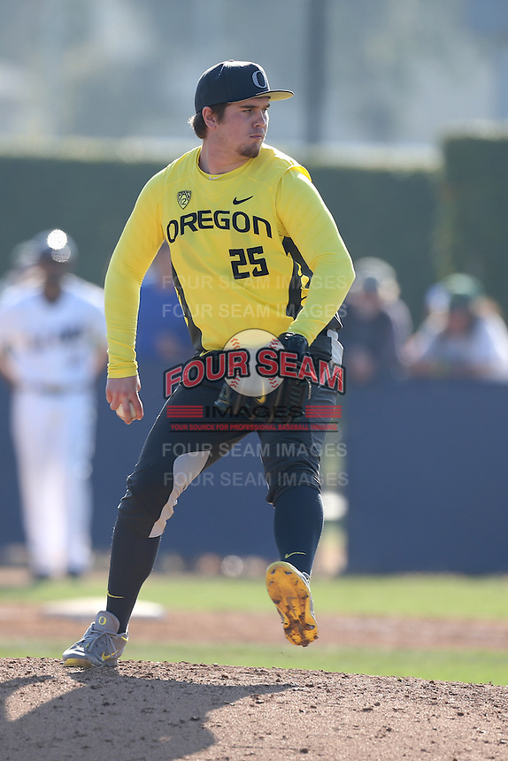 Trent Paddon #25 of the Oregon Ducks pitches against the Loyola Marymount Lions at Page Stadium on February 23, 2014 in Los Angeles, California. Oregon defeated Loyola, 4-3. (Larry Goren/Four Seam Images)