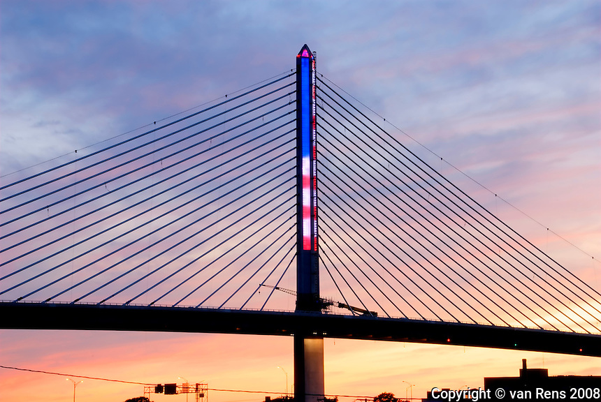 American Flag LED lights on the tower of the Vet Glass City Skyway bridge on the evening of the inaugural opening
