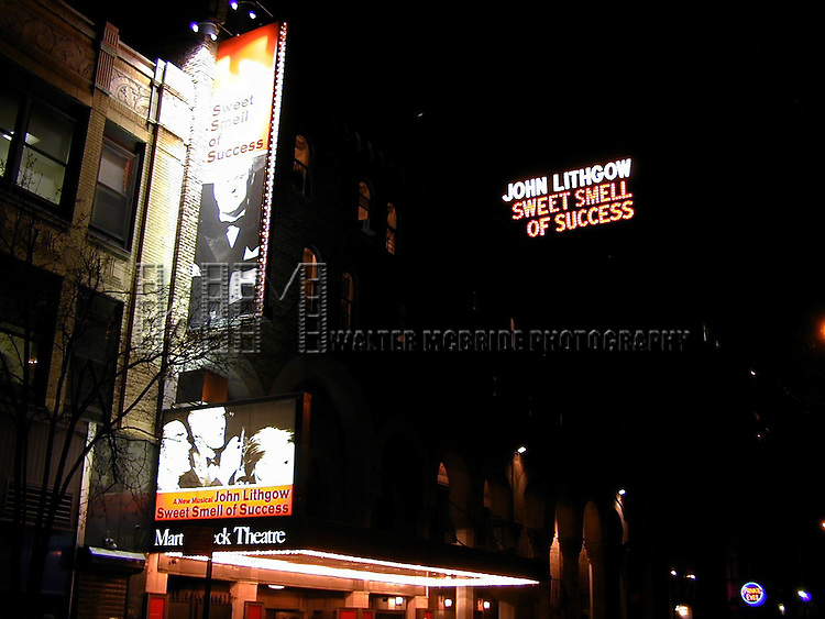 Theatre Marquee:  JOHN LITHGOW SPRING 2002 STARS IN THE NEW MARVIN HAMLISCH BROADWAY MUSICAL, THE SWEET SMELL OF SUCCESS AT THE MARTIN BECK THEATRE NEW YORK CITY