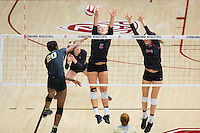 STANFORD, CA - September 9, 2016: Kathryn Plummer, Audriana Fitzmorris at Maples Pavilion. The Purdue Boilermakers defeated the Stanford Cardinal 3 - 2.