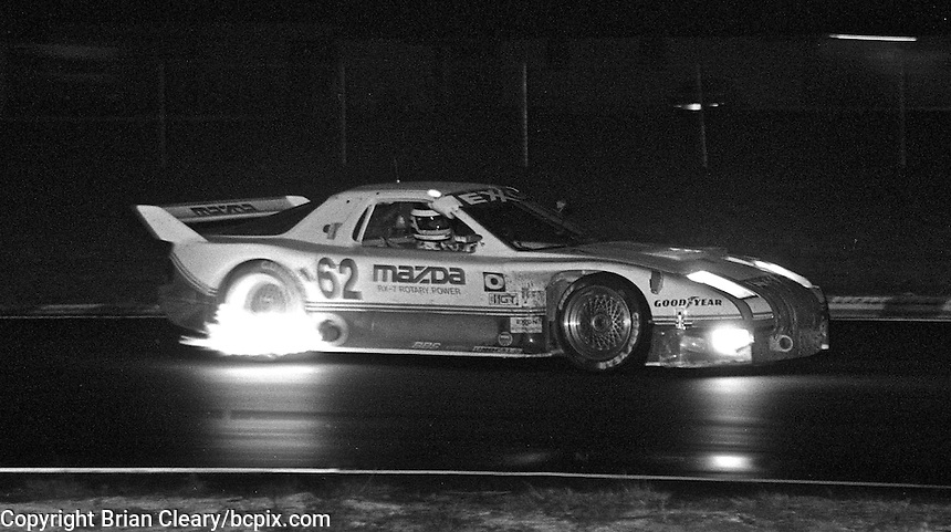 The #62 Mazda of John Morton, Pete Halsmer and Calvin Fish races through the night during the 12 Hours of Sebring, Sebring Raceway, Sebring, FL, March 16, 1991.  (Photo by Brian Cleary/www.bcpix.com)
