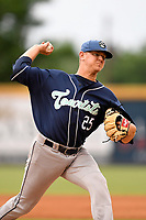 Starting pitcher Will Gaddis (25) of the Asheville Tourists delivers a pitch in a game against the Greenville Drive on Friday, June 1, 2018, at Fluor Field at the West End in Greenville, South Carolina. Greenville won, 7-4. (Tom Priddy/Four Seam Images)