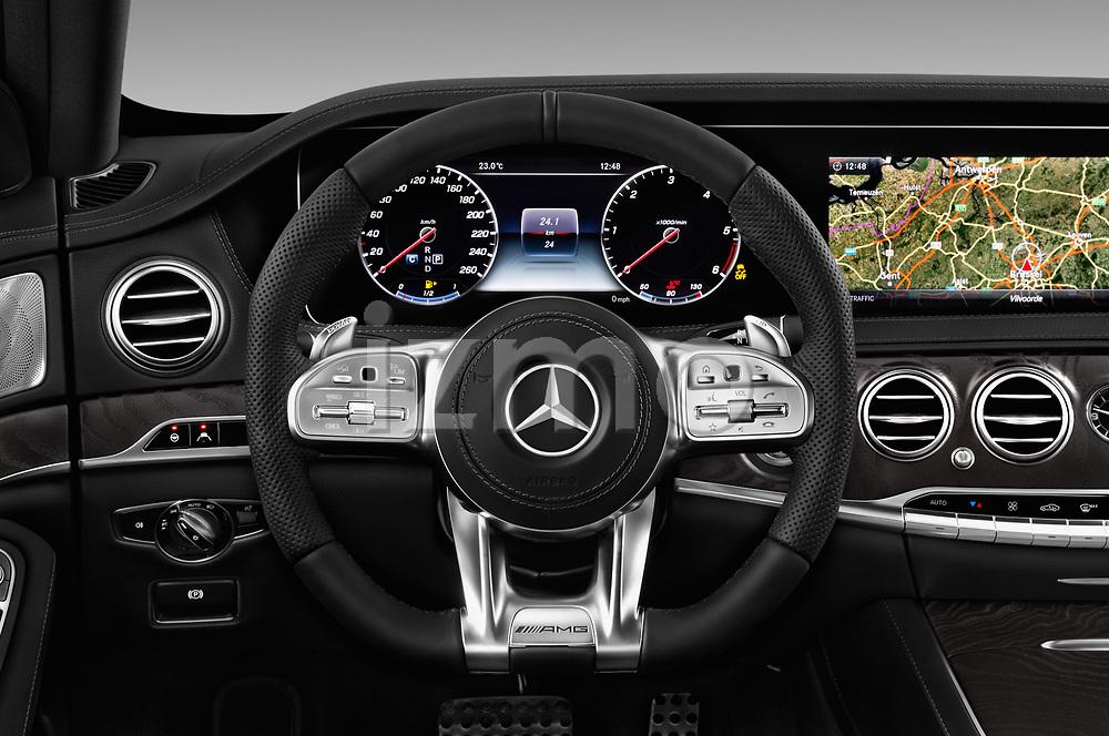 Car pictures of steering wheel view of a 2018 Mercedes Benz S Class Base 4 Door Sedan