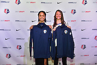Los Angeles, CA - Thursday January 12, 2017: Darian Jenkins Ashley Hatch during the 2017 NWSL College Draft at JW Marriott Hotel.