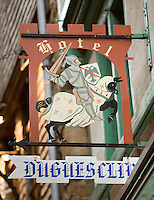 Hotel Duguesclin, Hotel?s sign, typical of Le Mont Saint Michel, Manche, Basse Normandie, France. Picture by Manuel Cohen