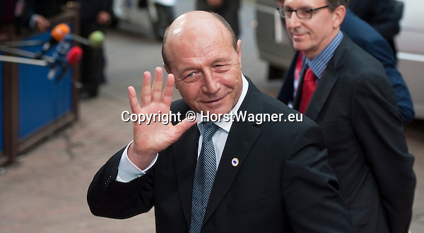 Brussels-Belgium - May 27, 2014 -- European Council, EU-summit, meeting of Heads of State / Government for an informal dinner to evaluate and to conclude the results of the European elections; here, arrival of Traian BASESCU, President of Romania -- Photo: © HorstWagner.eu