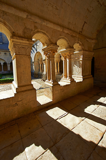 Cloisters of the 12th century Romanesque Cistercian Abbey of Notre Dame of Senanque ( 1148 ). Provence near Gordes, France.